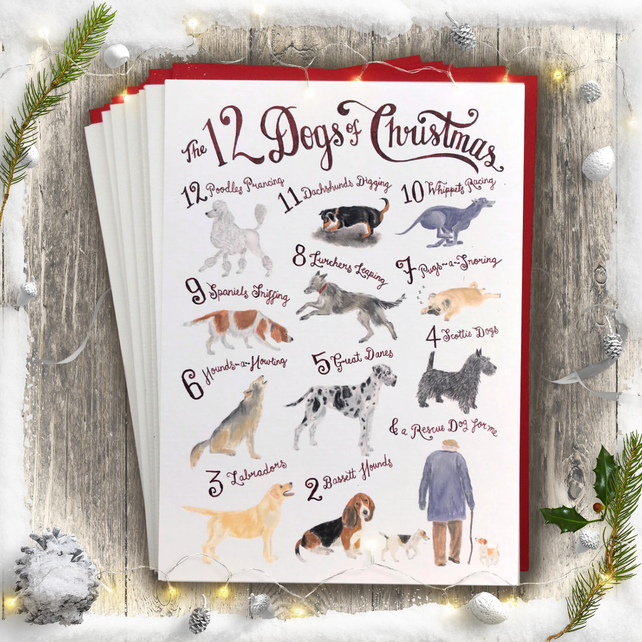 12 Dogs of Christmas Card for dog lovers by The Enlightened Hound