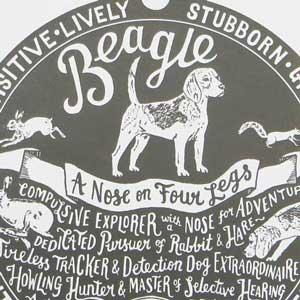 Beagle Print Detail by Debbie Kendall