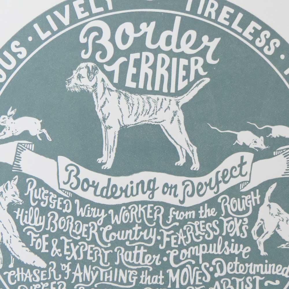 Border Terrier dog art prints - Hand lettering & Illustration by Debbie Kendall