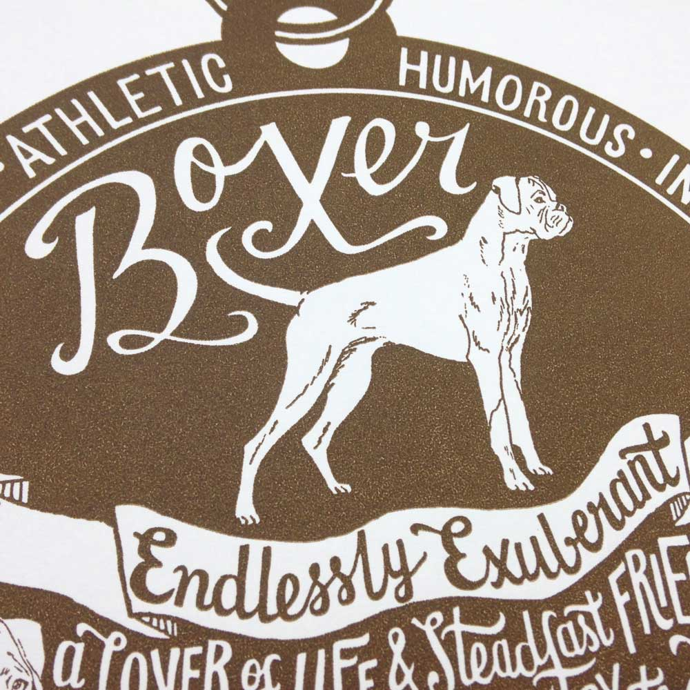 Boxer dog art prints - Hand lettering & Illustration by Debbie Kendall
