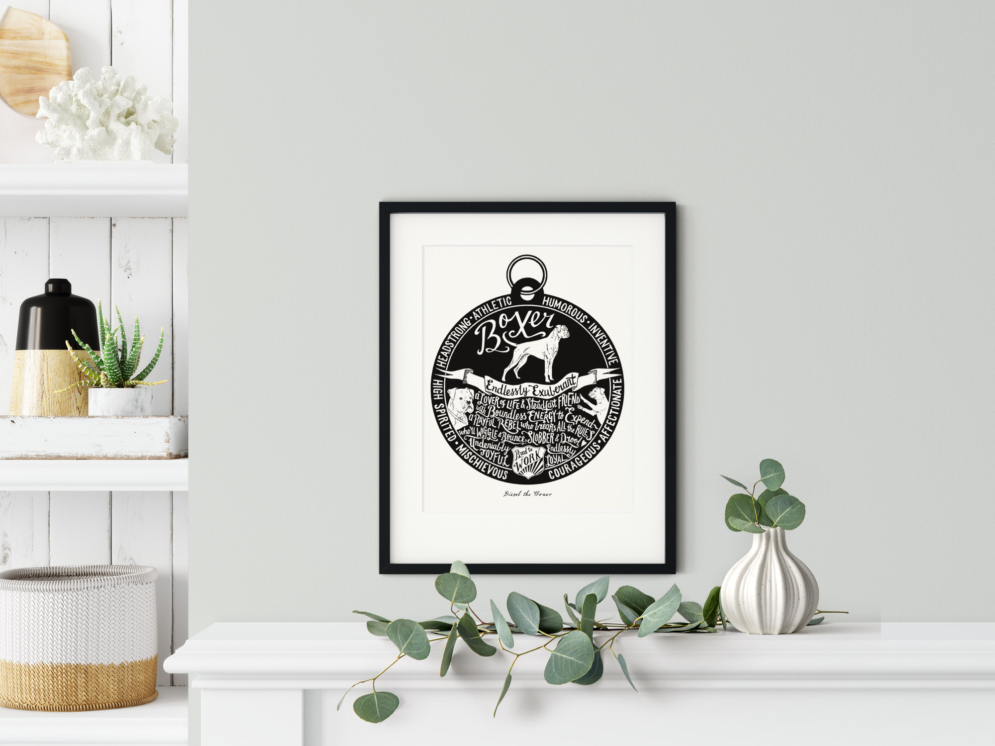Boxer lover dog art gifts by The Enlightened Hound
