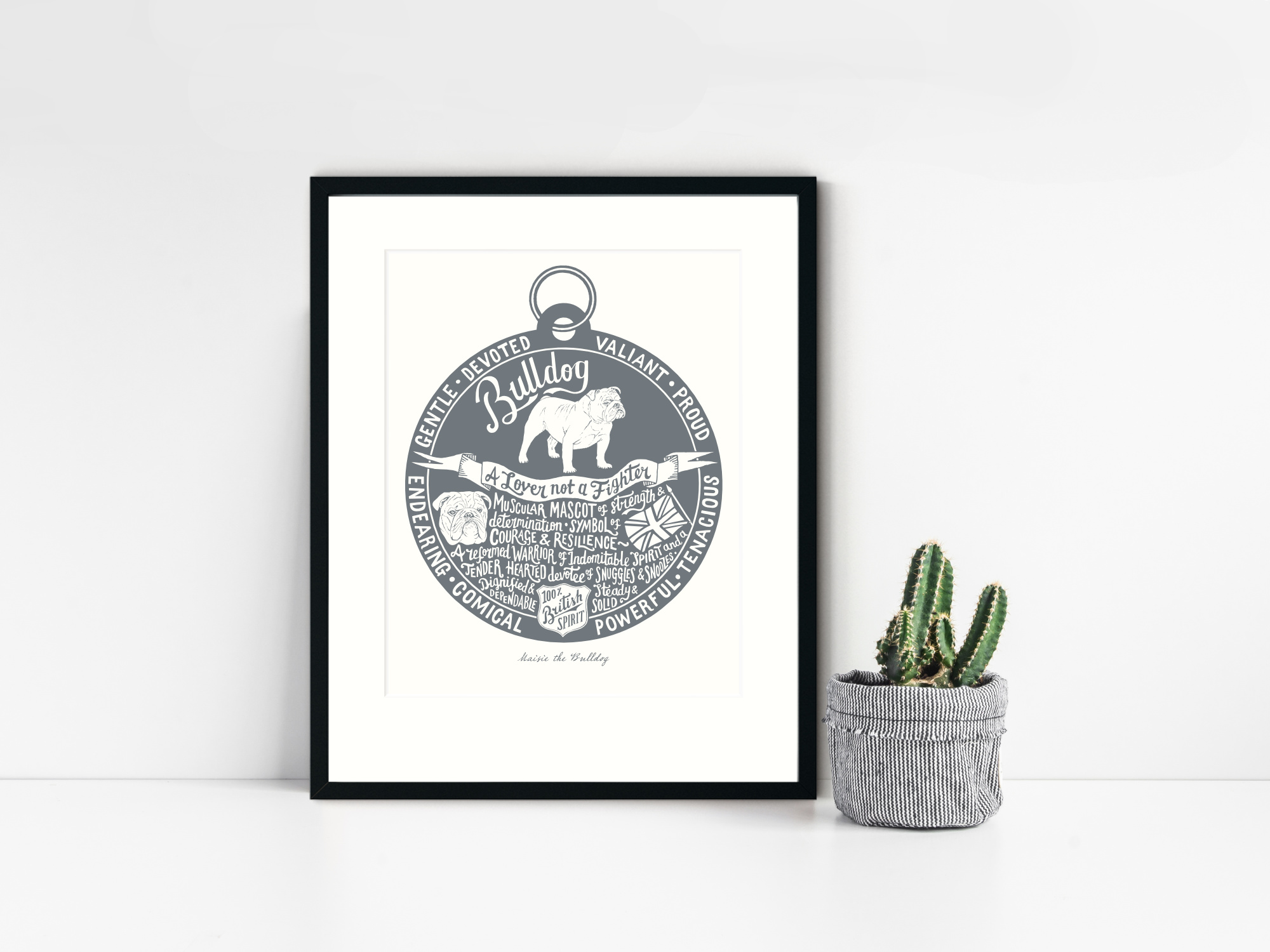 English Bulldog lover art gifts by The Enlightened Hound