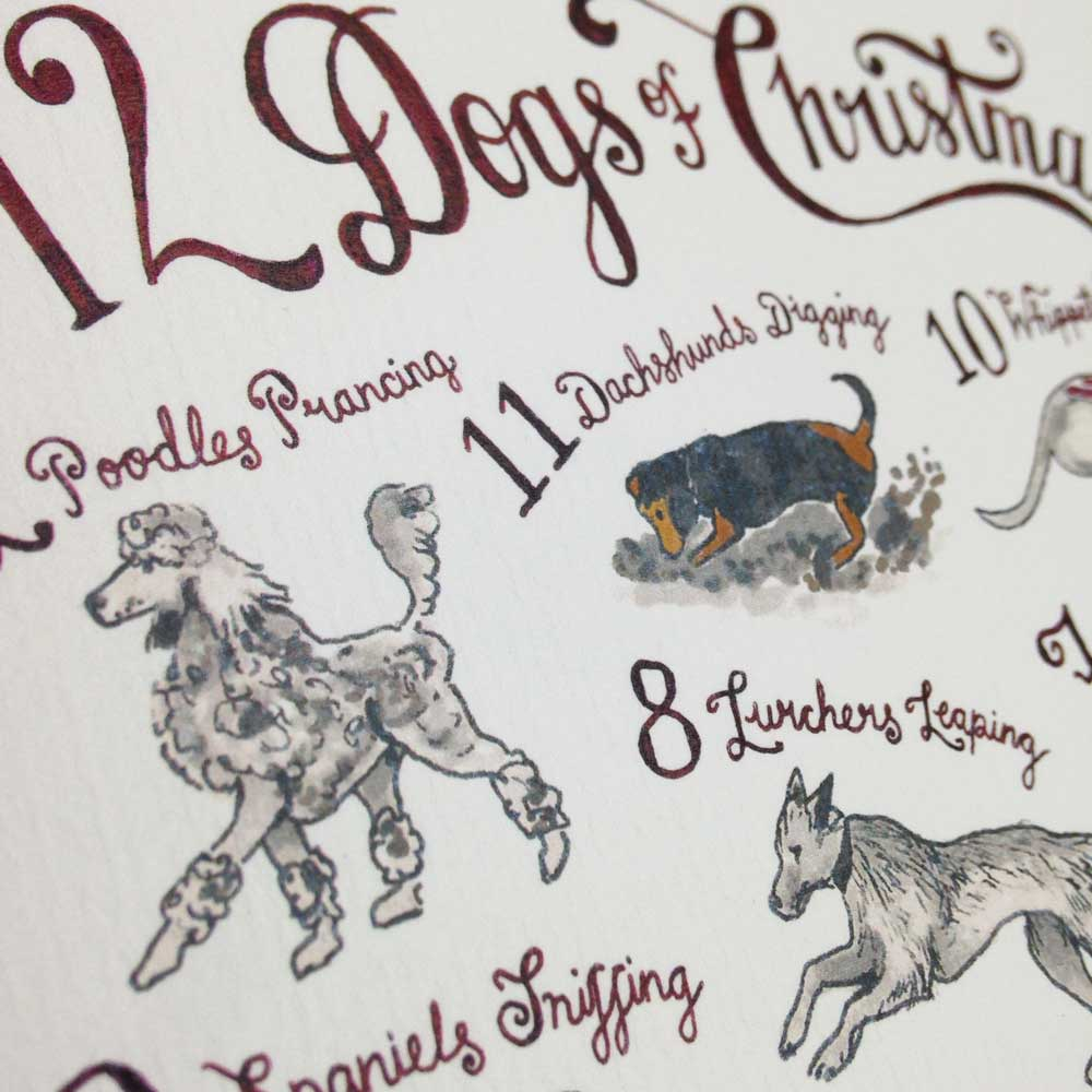 The 12 Dogs of Christmas Card by The Enlightened Hound