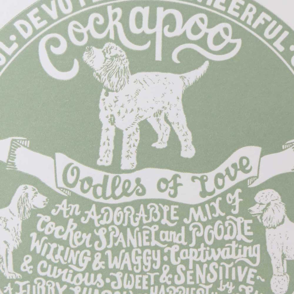 Cockapoo dog art prints - Hand lettering & Illustration by Debbie Kendall