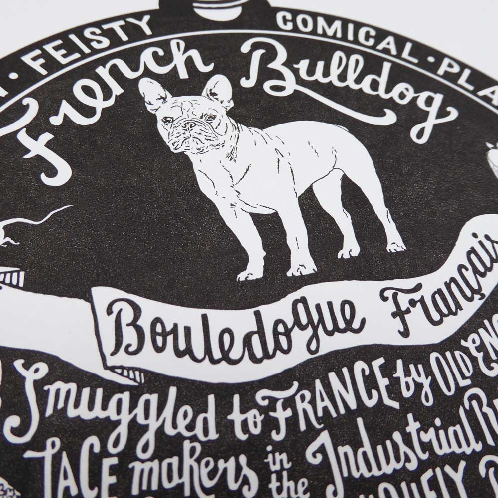 French Bulldog original art prints - Hand lettering & Illustration by Debbie Kendall