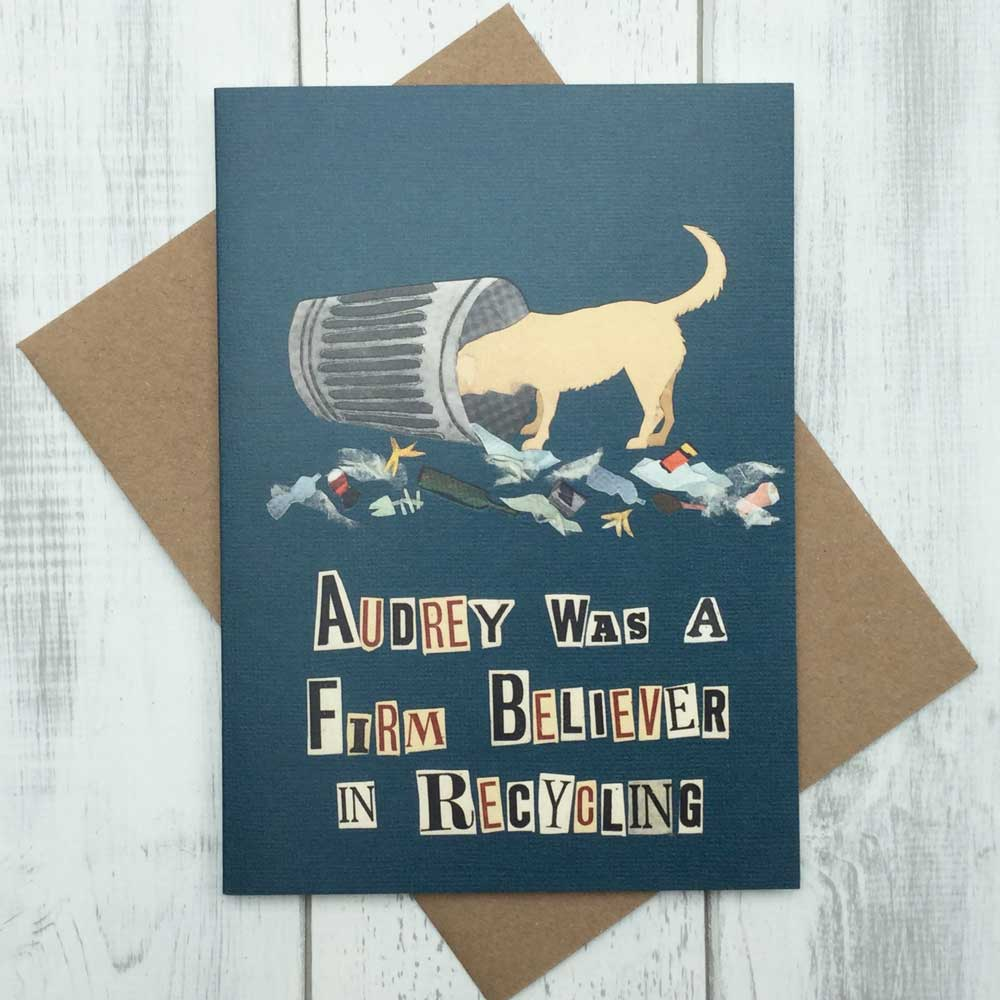 Recycling Garbage Bin Greedy Dog Greeting Card
