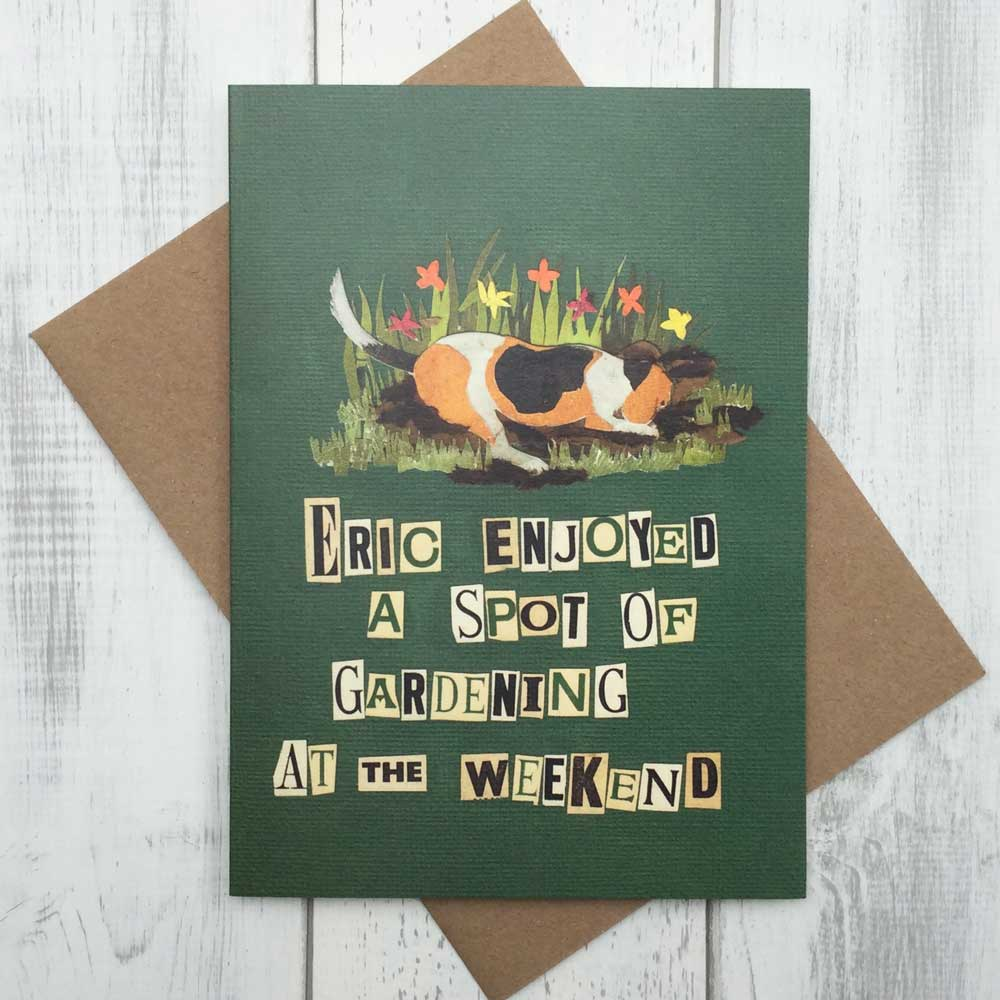 Beagle Dog Digging Garden Card