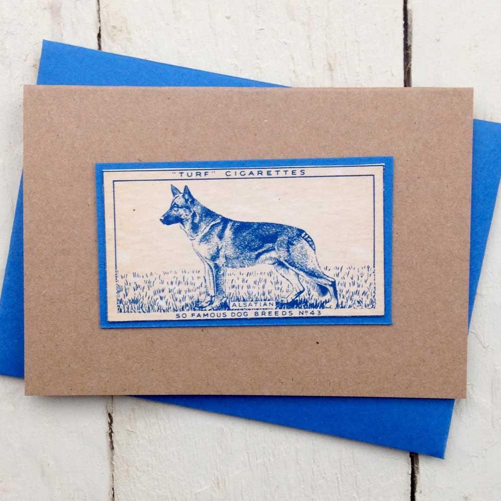 Alsatian German Shepherd Dog Vintage Card - The Enlightened Hound