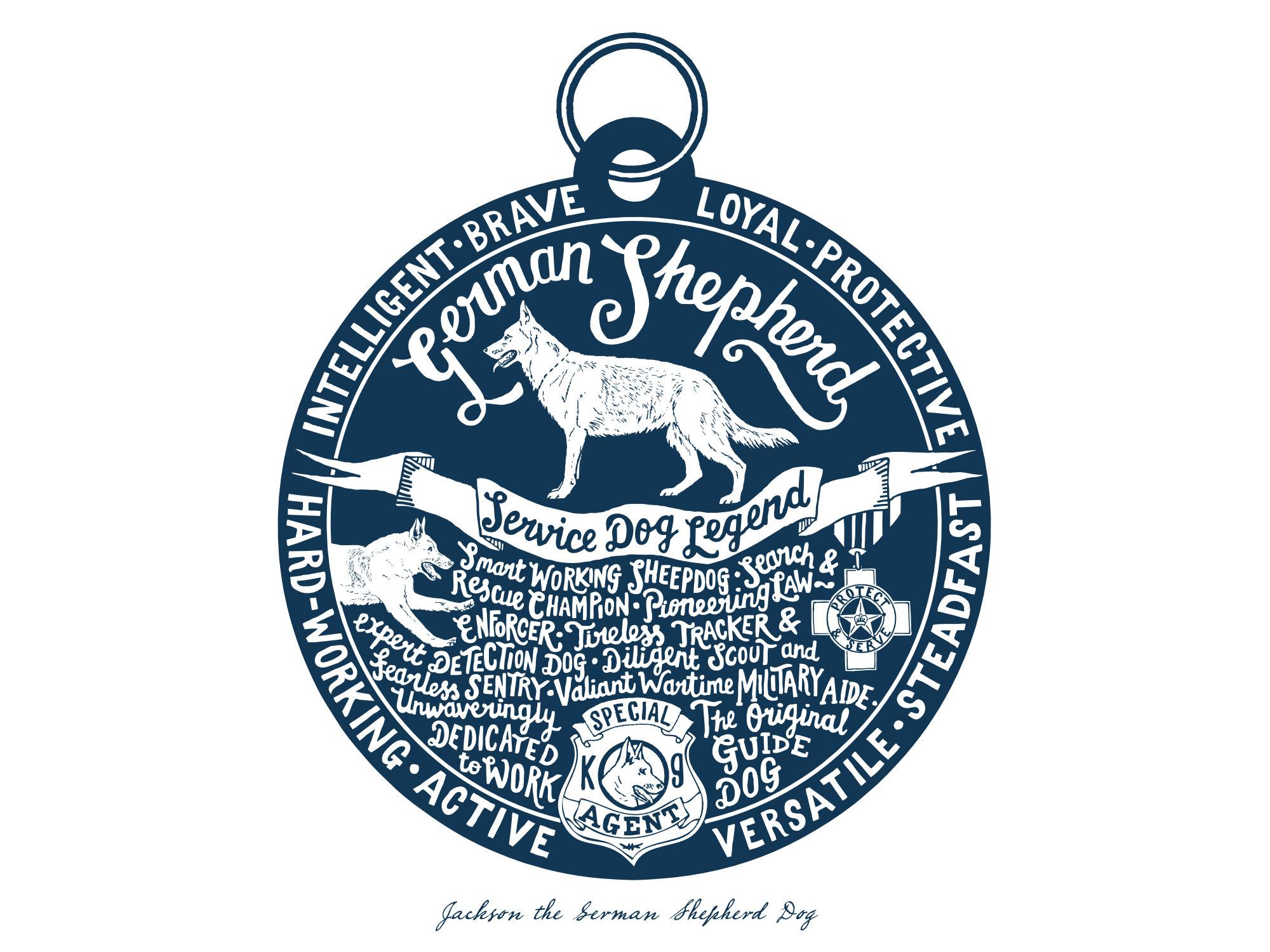 German Shepherd Dog Alsatian prints - Hand lettering & Illustration by Debbie Kendall