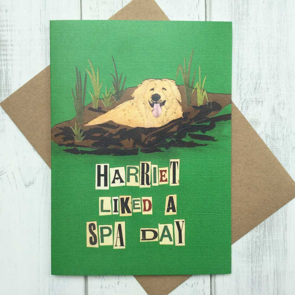 Golden Retriever Muddy Spa Day Card