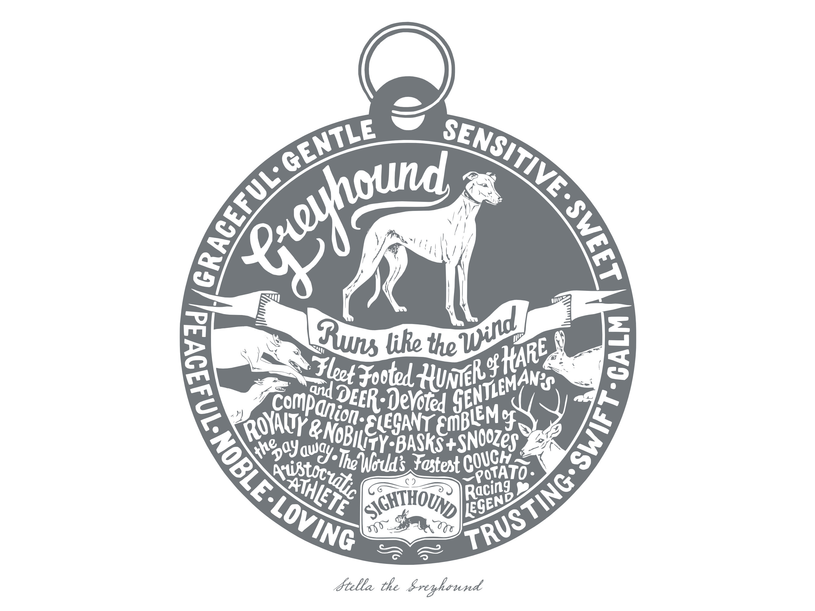 Greyhound prints - Hand lettering & Illustration by Debbie Kendall