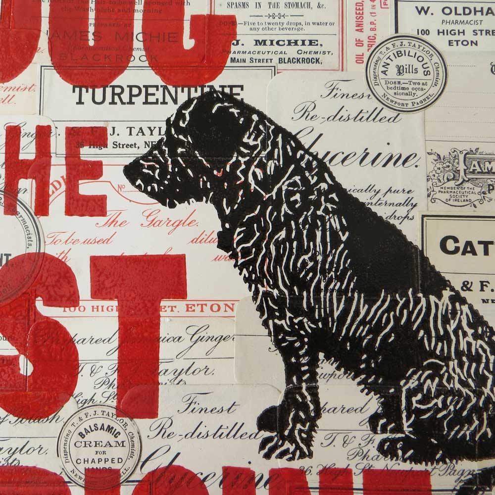 Handmade gift for dog lover - original linoprint and collage by The Enlightened Hound