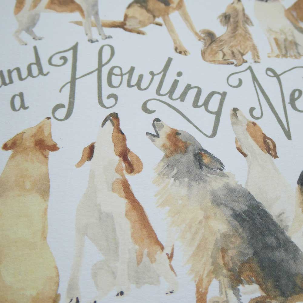 The Howling Dogs of Christmas Card by The Enlightened Hound