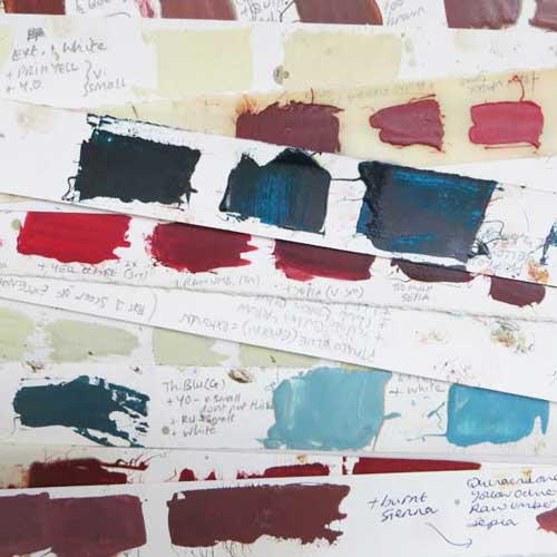 Mixing and recording ink colour recipes - Debbie Kendall