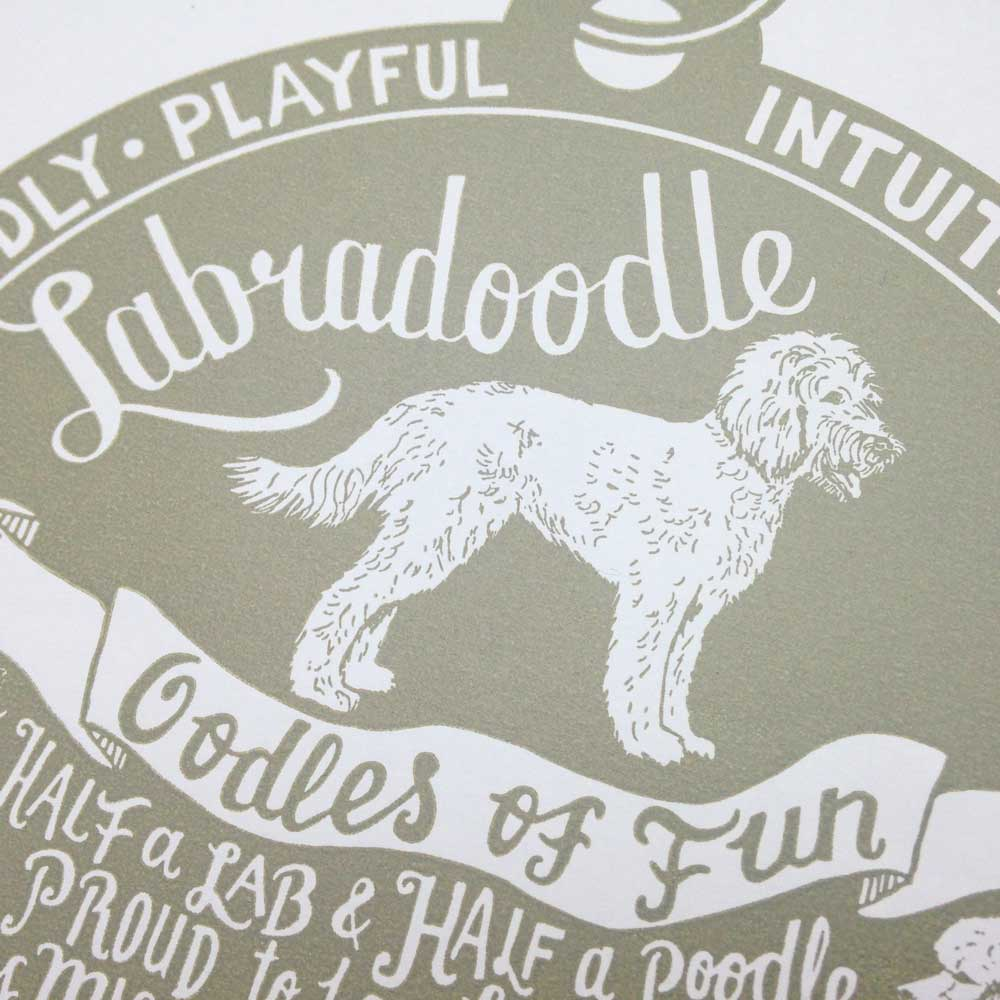 Labradoodle original art prints - Hand lettering & Illustration by Debbie Kendall