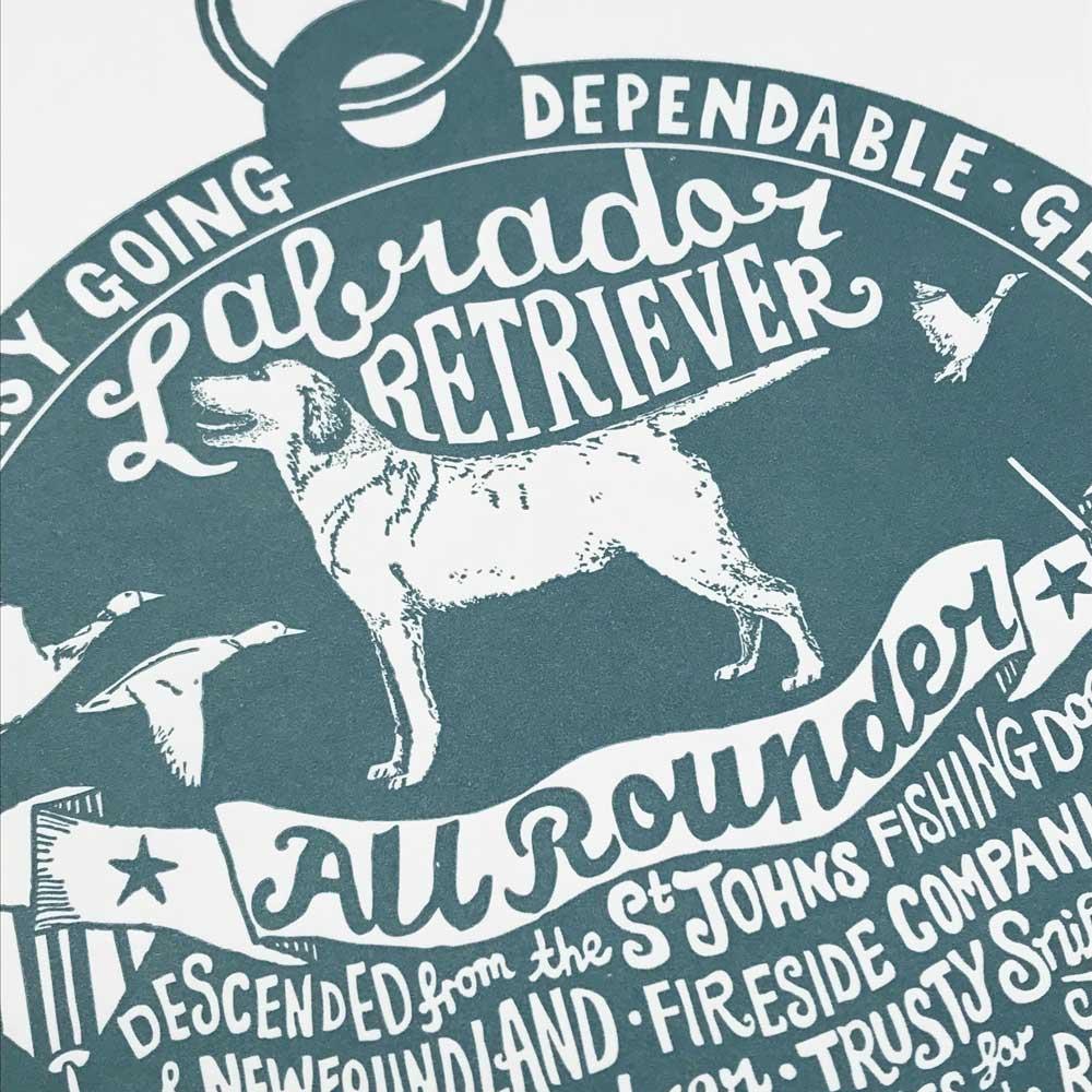 Labrador original art prints - Hand lettering & Illustration by Debbie Kendall
