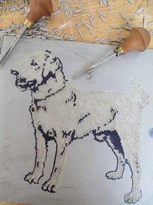 Linocut Dog Art Debbie Kendall