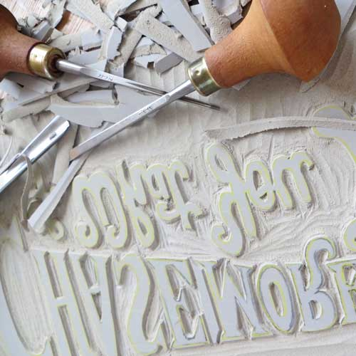 Linocut tools and plate - Debbie Kendall