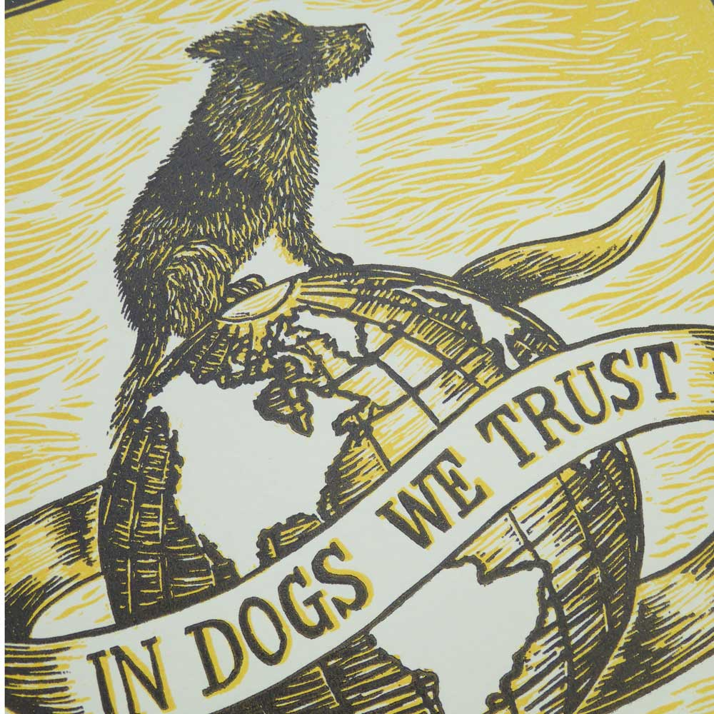 Limited edition dog linoprint - yellow - by Debbie Kendall