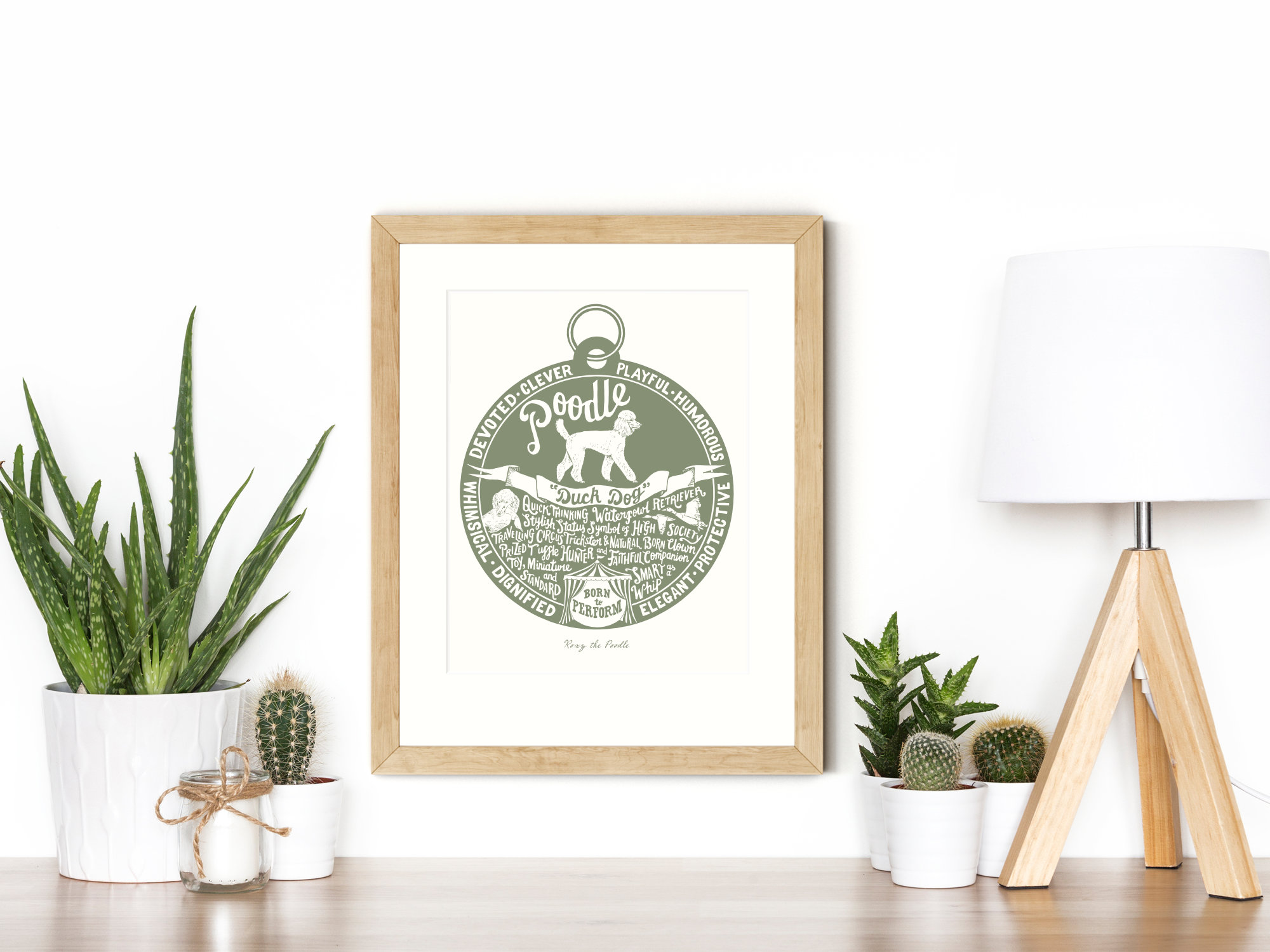 Poodle lover dog art gifts by The Enlightened Hound