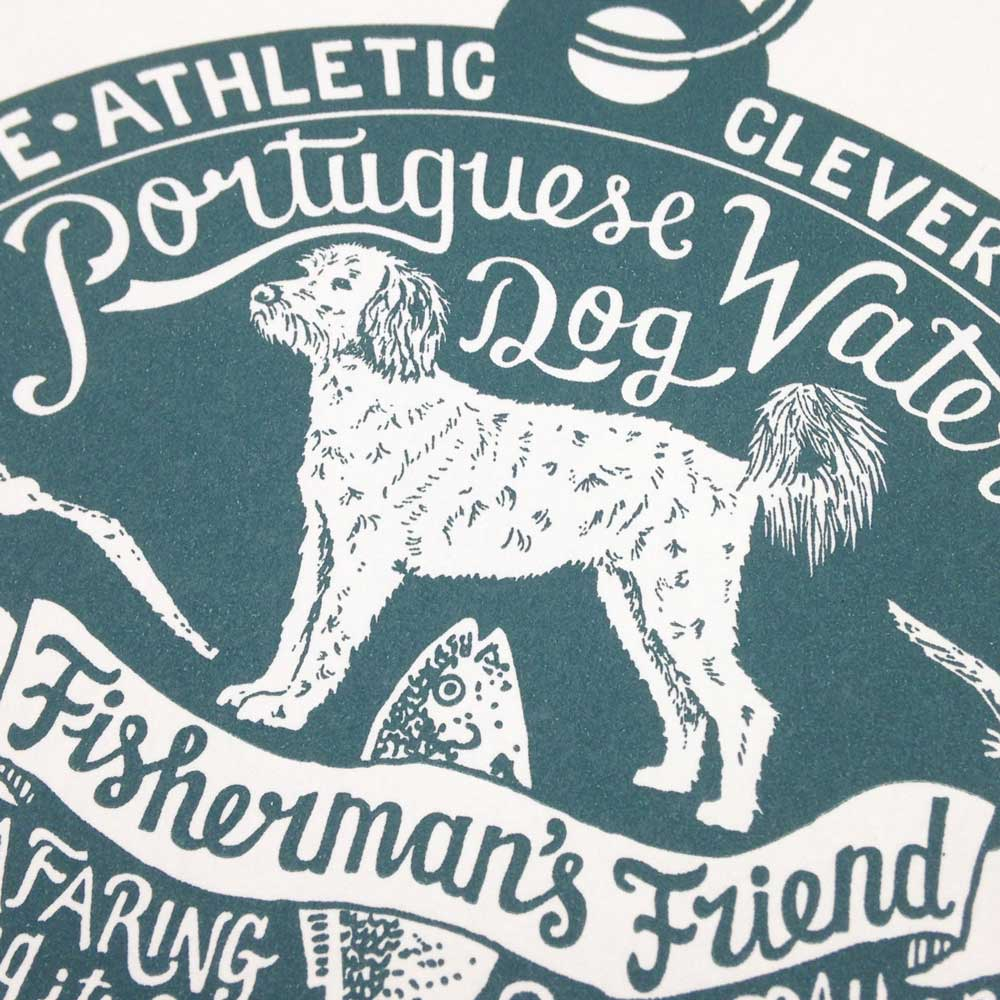 Portuguese water dog original art prints - Hand lettering & Illustration by Debbie Kendall