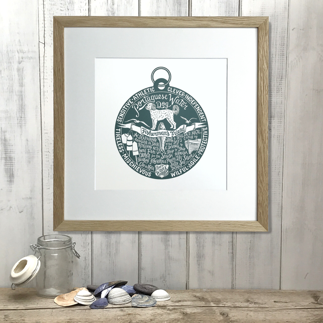 Portuguese water dog lover art gifts by The Enlightened Hound