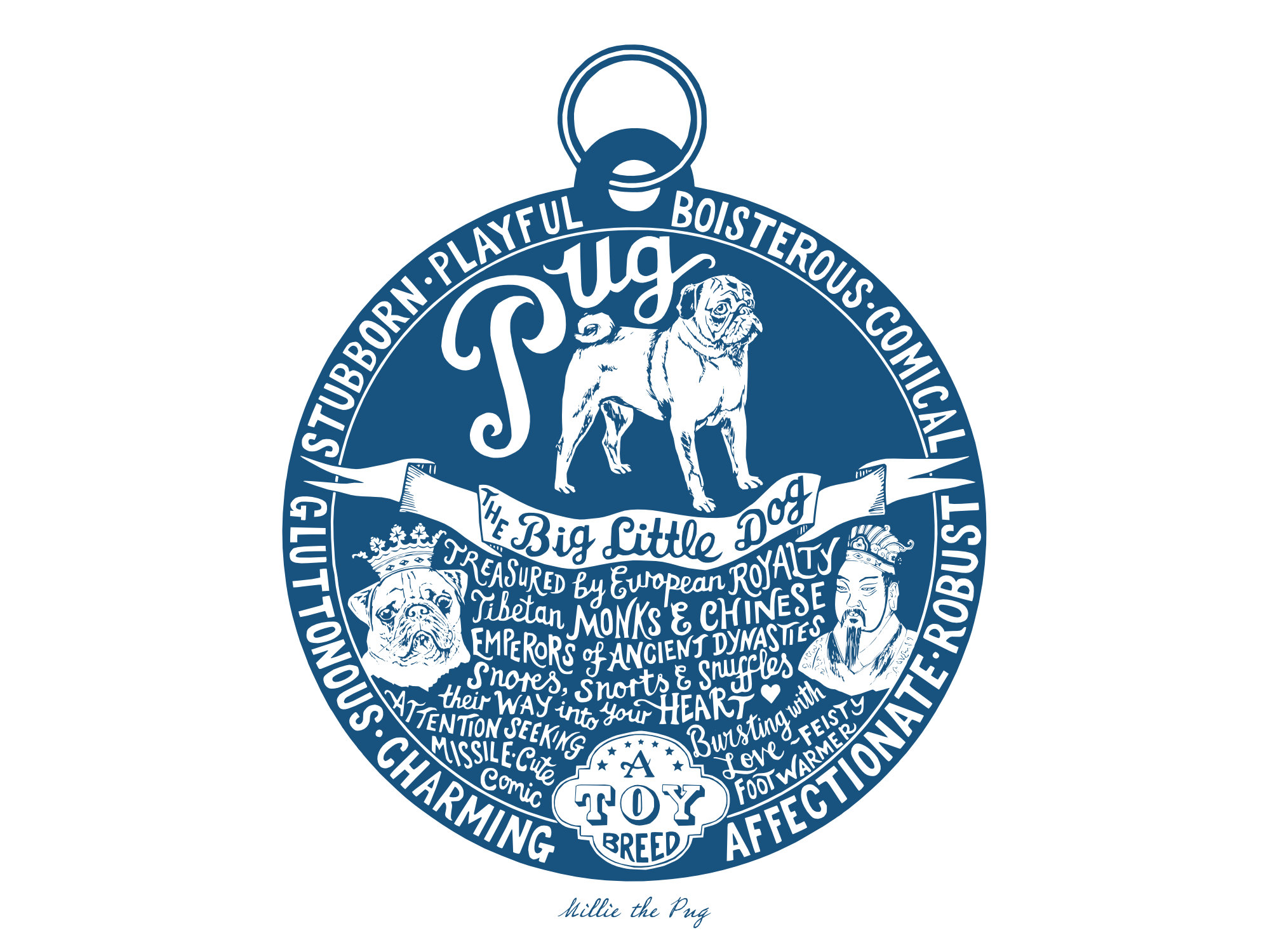 Pug prints - Hand lettering & Illustration by Debbie Kendall