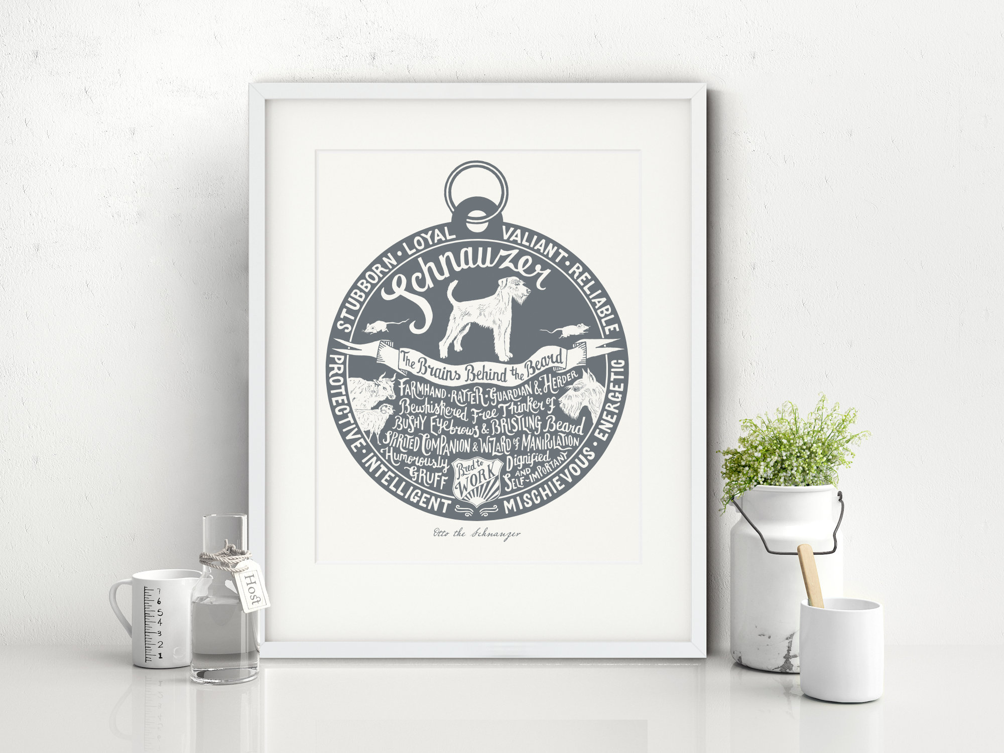 Schnauzer lover dog art gifts by The Enlightened Hound