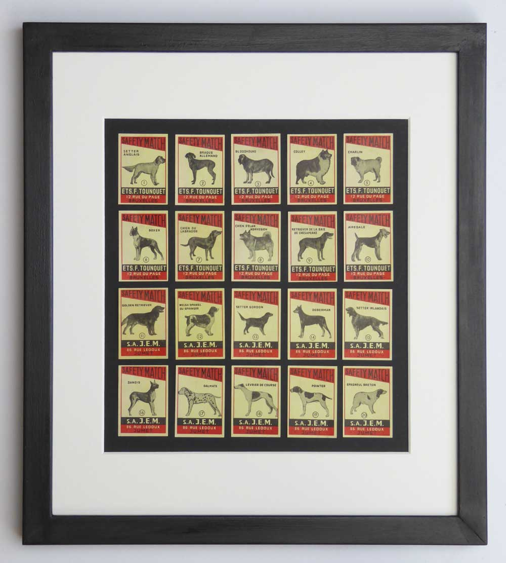 Vintage gift for dog lover - Set of Dog Breed Matchbox labels - The Enlightened Hound