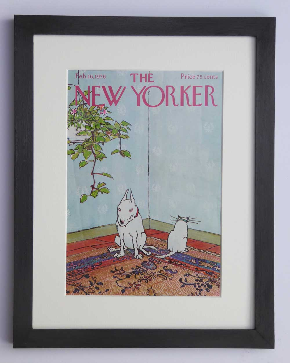 Vintage Art Gift Bull Terrier  & Cat Lover by The Enlightened Hound