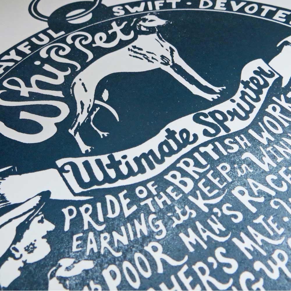 Whippet dog art prints - Hand lettering & Illustration by Debbie Kendall