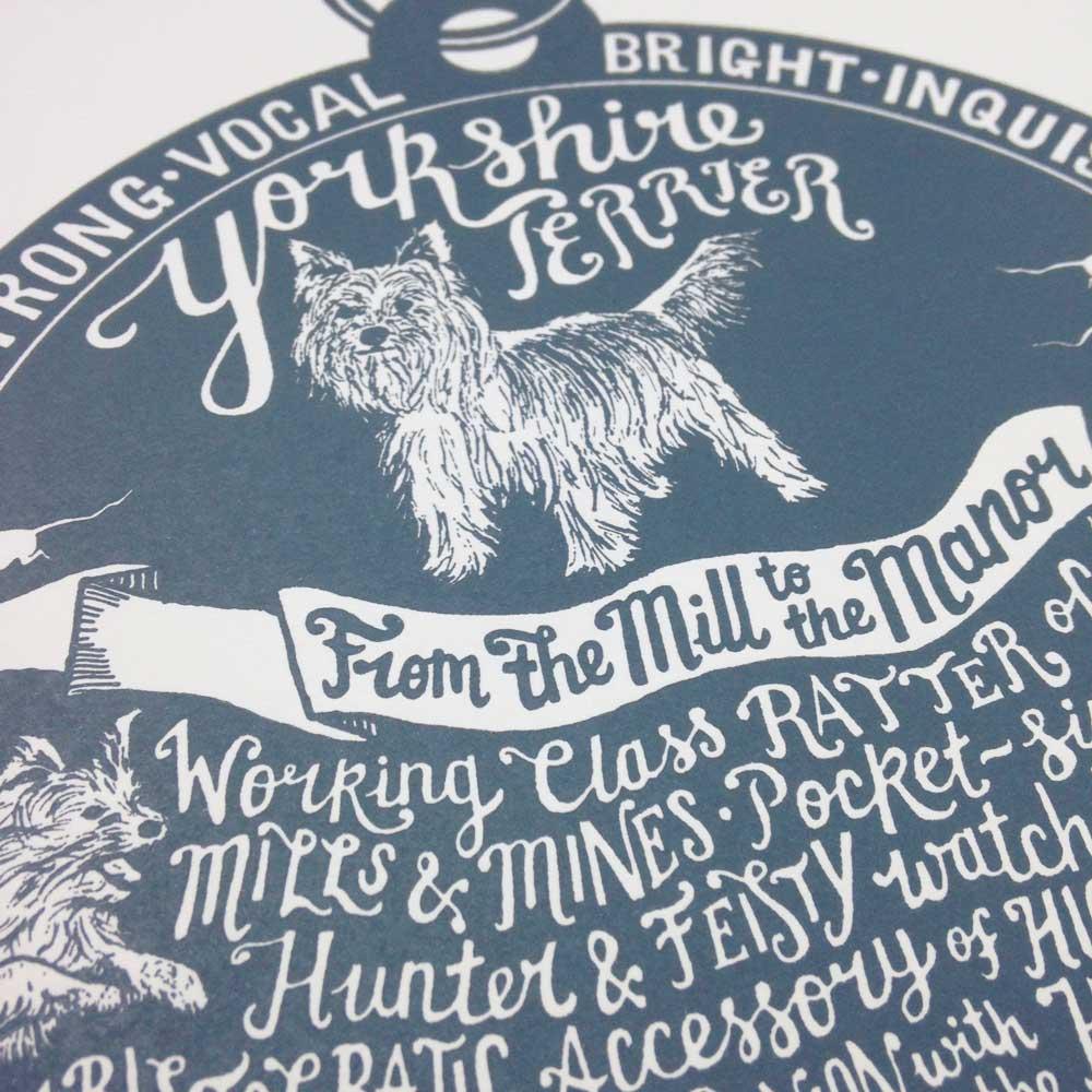Yorkshire terrier dog art prints - Hand lettering & Illustration by Debbie Kendall