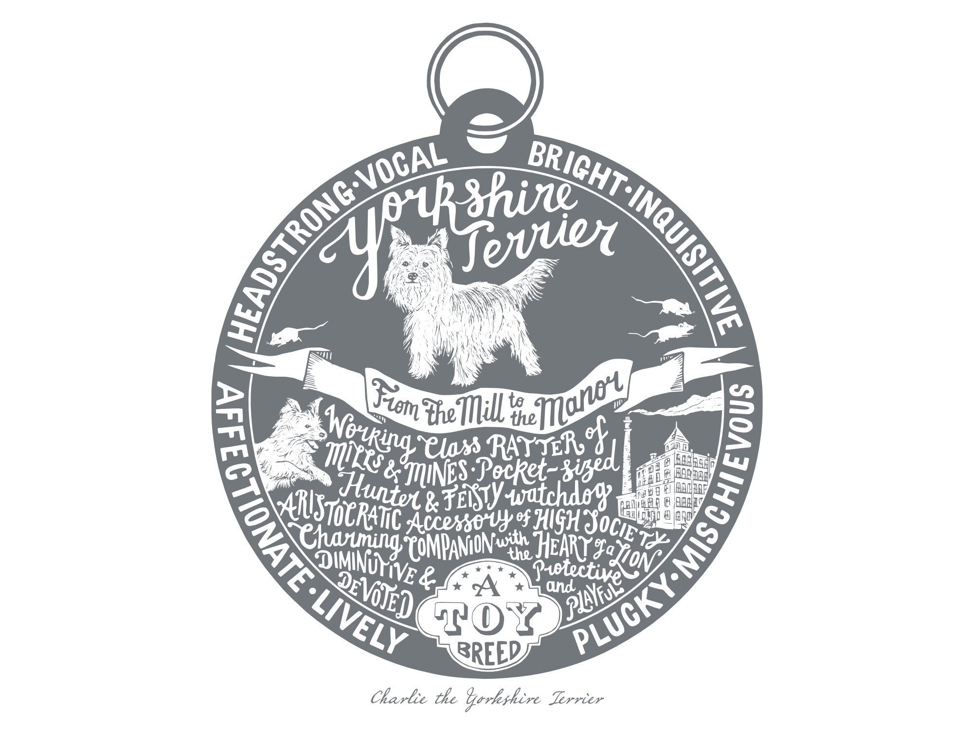 Yorkshire terrier prints - Hand lettering & Illustration by Debbie Kendall